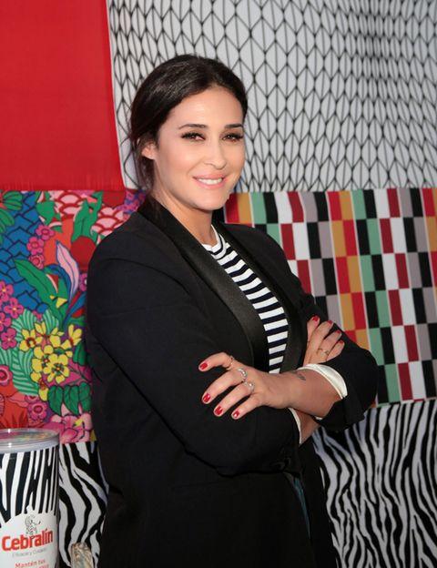 Textile, Blazer, Pattern, Black hair, Lipstick, Linens, Makeover, Pattern,