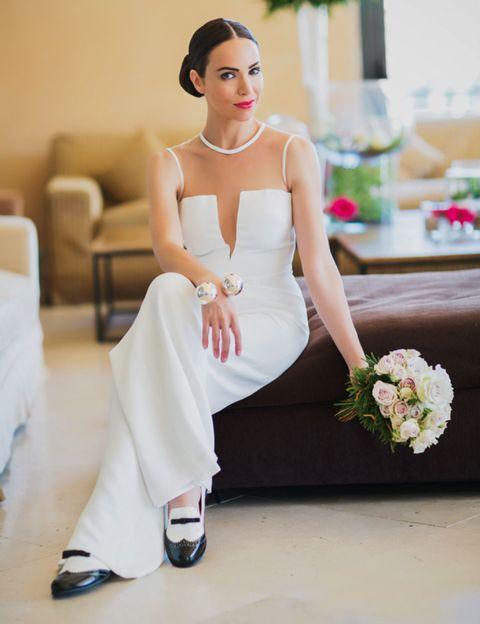 Clothing, Shoulder, White, Style, Sitting, Dress, Elbow, Floor, Flooring, Fashion,