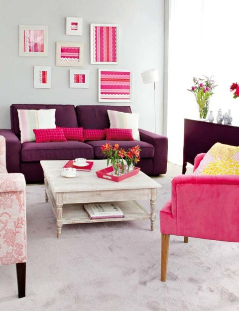 Room, Interior design, Furniture, Living room, Throw pillow, Red, Home, Pillow, Table, Pink,