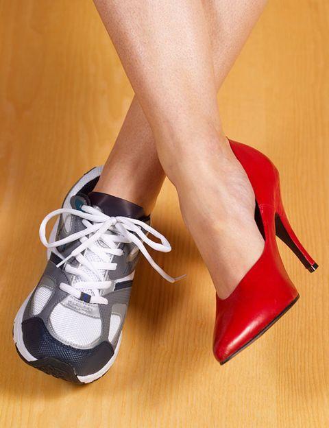 Footwear, Shoe, Human leg, Red, High heels, Athletic shoe, Carmine, Fashion, Sneakers, Grey,