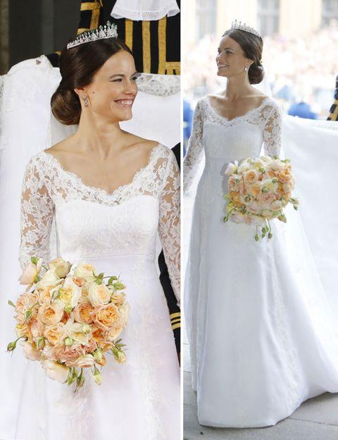 Clothing, Petal, Bridal clothing, Yellow, Dress, Sleeve, Shoulder, Bride, Wedding dress, Photograph,