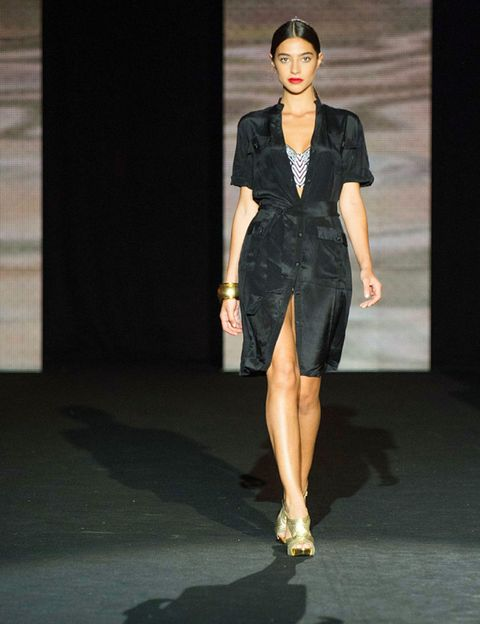 Clothing, Fashion show, Human body, Shoulder, Joint, Human leg, Runway, Fashion model, Style, Dress,
