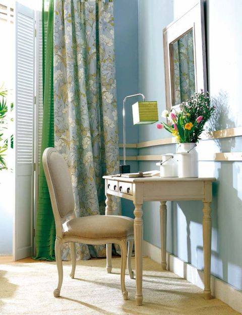 Green, Interior design, Room, Floor, Flooring, Window covering, Interior design, Chair, Fixture, Window treatment,