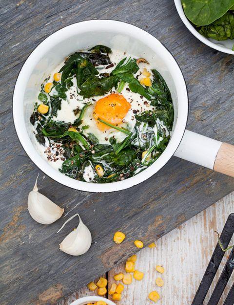 Food, Ingredient, Egg yolk, Cuisine, Leaf vegetable, Breakfast, Produce, Dish, Dishware, Vegetable,