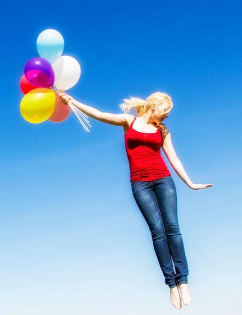 Balloon, Denim, Jeans, Party supply, People in nature, Waist, Blond, Photo shoot, Abdomen, Gesture,