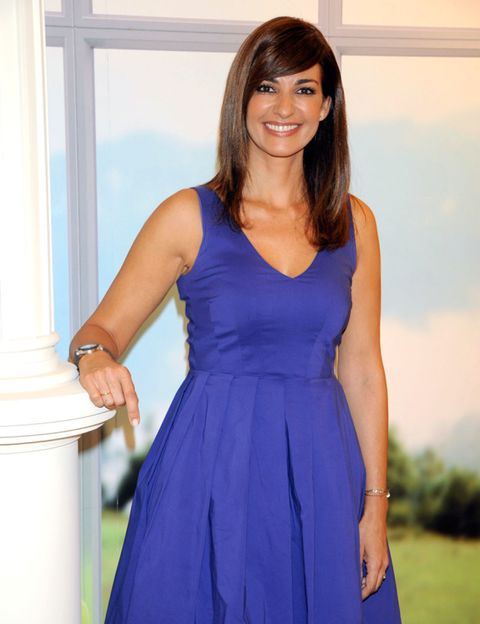 Clothing, Blue, Dress, Shoulder, Joint, Standing, Formal wear, Electric blue, One-piece garment, Day dress,