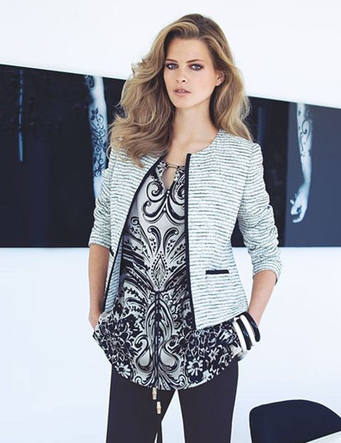 Sleeve, Shoulder, Joint, Outerwear, Style, Blazer, Fashion model, Fashion, Street fashion, Long hair,