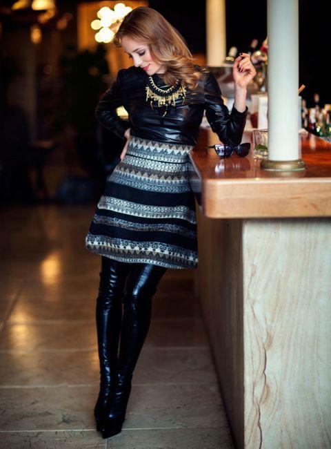 Dress, Fashion, Street fashion, Little black dress, Tights, Leather, Fashion model, Cocktail dress, One-piece garment, Fashion design,