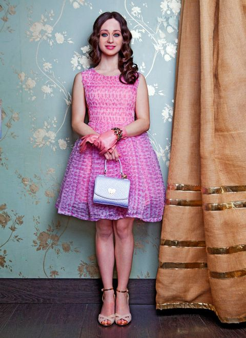 Clothing, Dress, Textile, Pink, Purple, Pattern, Fashion accessory, One-piece garment, Style, Magenta,