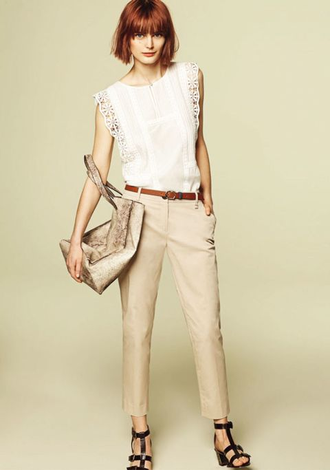 Clothing, Footwear, Brown, Sleeve, Shoulder, Textile, Joint, Khaki, White, Fashion accessory,