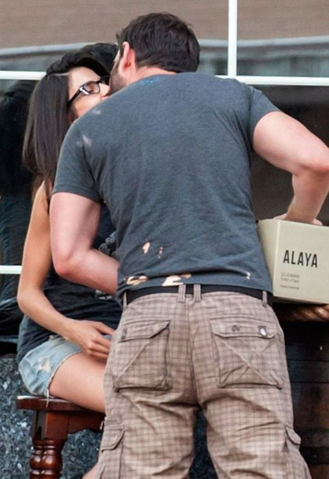 Eyewear, Trousers, Denim, Sunglasses, Pocket, Interaction, Box, Back, Khaki, Street fashion,