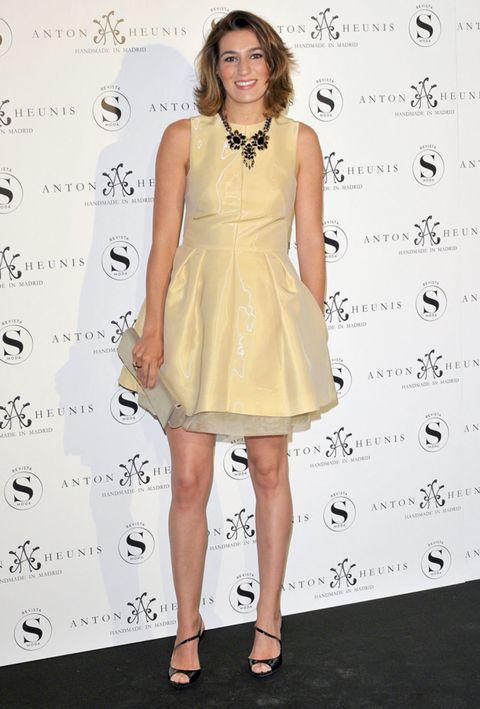 Clothing, Footwear, Human, Skin, Dress, Shoulder, Human leg, Joint, One-piece garment, Style,