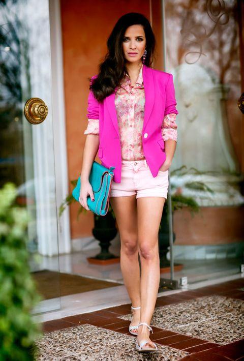 Shoulder, Human leg, Outerwear, Style, Fashion show, Pink, Magenta, Fashion accessory, Fashion model, Waist,