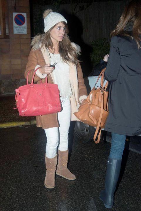 Clothing, Footwear, Leg, Brown, Coat, Textile, Bag, Outerwear, White, Fashion accessory,
