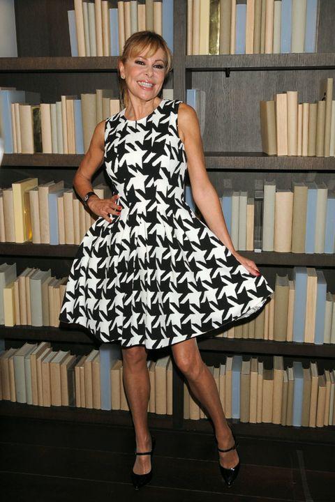 Clothing, Dress, Shoulder, Shelf, Human leg, Joint, Shelving, Bookcase, One-piece garment, Publication,