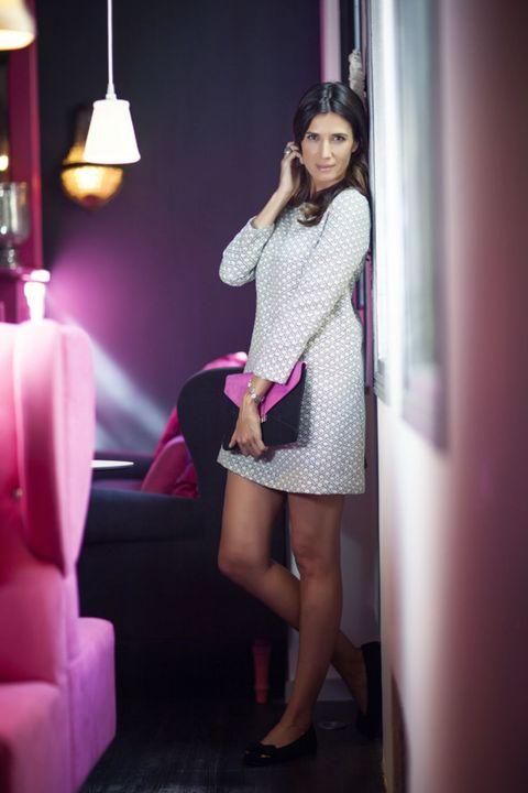Lighting, Human leg, Shoulder, Dress, Purple, Pink, Magenta, One-piece garment, Lamp, Light fixture,