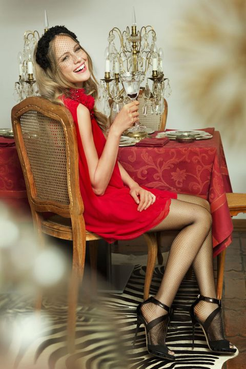 Sitting, Dress, Fashion, Beauty, Knee, Thigh, Chair, Long hair, Blond, High heels,