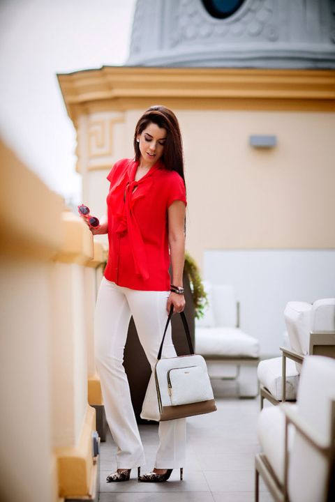 Outerwear, White, Bag, Knee, Street fashion, Luggage and bags, Waist, Picture frame, Photo shoot, High heels,