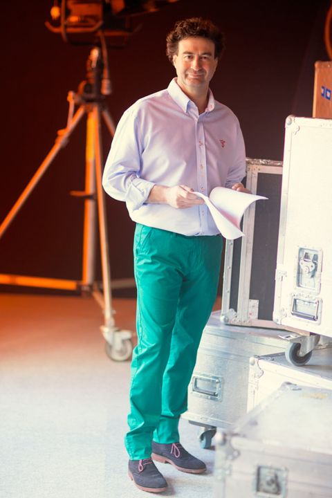 Dress shirt, Shoe, Standing, Suit trousers, Machine, Job, Shipping box, Box,