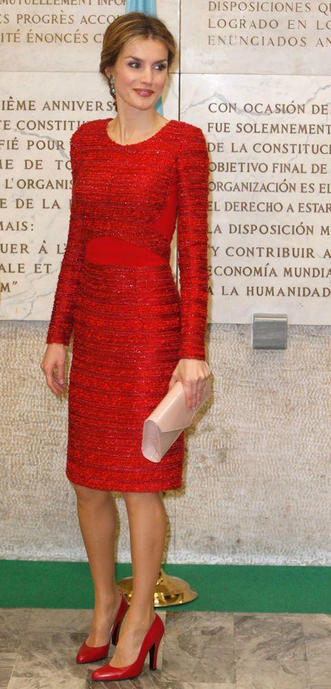 Clothing, Dress, Sleeve, Shoulder, Joint, Pattern, Red, Human leg, One-piece garment, Waist,