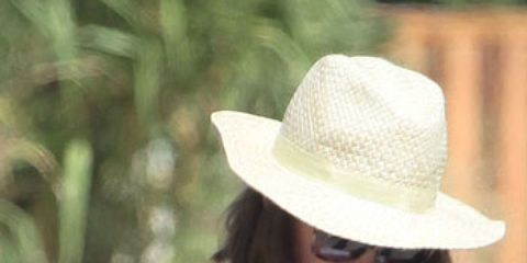 Clothing, Hat, Shoulder, Textile, White, Headgear, Fashion accessory, Dress, Fashion, Sun hat,