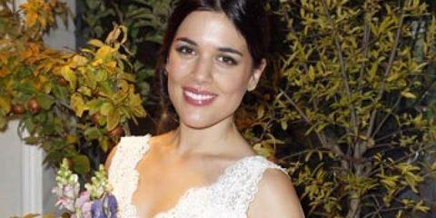 Eye, Shoulder, Textile, Dress, Joint, Petal, Wedding dress, Bridal clothing, Bouquet, Beauty,