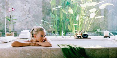 Comfort, Physical fitness, Blond, Long hair, Plant stem, Plastic bag, Vase, Bathing, Houseplant, Exercise,