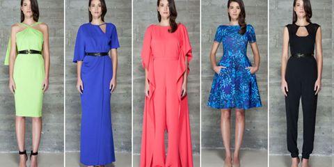 Clothing, Blue, Dress, Sleeve, Shoulder, Joint, One-piece garment, Formal wear, Standing, Waist,