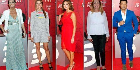 Clothing, Footwear, Dress, Flooring, Red, Outerwear, Formal wear, Carpet, Style, Fashion,