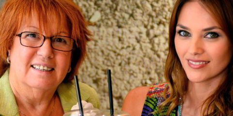 Eyewear, Glasses, Vision care, Mouth, Drink, Drinking straw, Juice, Bangs, Jewellery, Red hair,