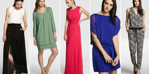 Clothing, Leg, Dress, Sleeve, Shoulder, Standing, Joint, Red, Waist, Formal wear,