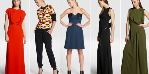 Clothing, Dress, Sleeve, Shoulder, Standing, Red, Joint, Outerwear, Formal wear, Waist,