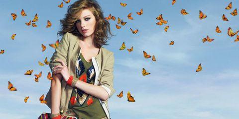 Human, Orange, People in nature, Street fashion, Peach, Plaid, Animation, Autumn, Tartan, Photo shoot,