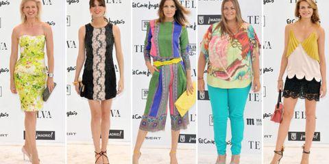 Clothing, Leg, Human, Yellow, Shoulder, Dress, Joint, Style, One-piece garment, Pattern,