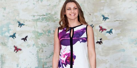 Product, Sleeve, Shoulder, Textile, Purple, Dress, Magenta, Day dress, Beauty, Lavender,