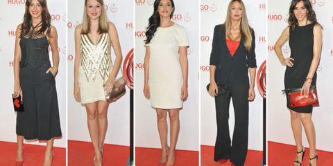 Clothing, Leg, Dress, Event, Flooring, Shoulder, Red, Outerwear, Formal wear, Carpet,