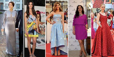 Clothing, Footwear, Leg, Dress, Event, Shoulder, Outerwear, Red, Formal wear, Flooring,