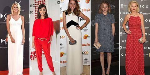 Clothing, Arm, Dress, Shoulder, Red, Formal wear, Flooring, Style, Beauty, Pattern,