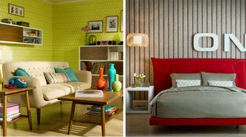 Wood, Room, Interior design, Green, Wall, Furniture, Floor, Home, Living room, Pillow,