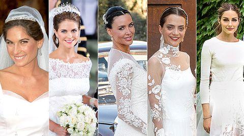Clothing, Face, Smile, Dress, Bridal clothing, Skin, Sleeve, Event, Shoulder, Bridal accessory,