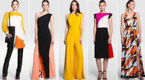 Yellow, Dress, Sleeve, Shoulder, Orange, Red, Joint, Standing, Formal wear, Waist,