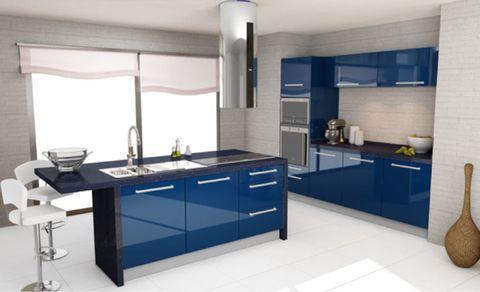 Blue, Room, Lighting, Interior design, Plumbing fixture, Floor, Property, Tap, Countertop, Light fixture,