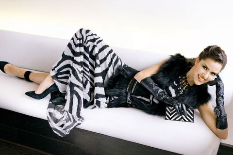 Comfort, Black hair, Fashion, Jacket, Knee, Youth, Thigh, Fashion model, Couch, Flash photography,