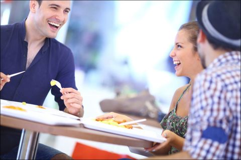 Smile, Mouth, Happy, Tableware, Cuisine, Conversation, Laugh, Dish, Customer, Meal,