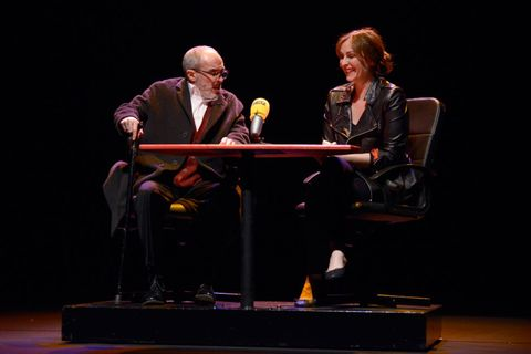 Shoe, Stage, Sitting, Conversation, heater, Suit trousers, Debate, Television program, Stool,