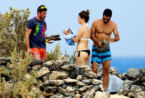 People in nature, Outdoor recreation, Brassiere, Shorts, Rock, Vacation, Undergarment, Bedrock, Cap, Goggles,