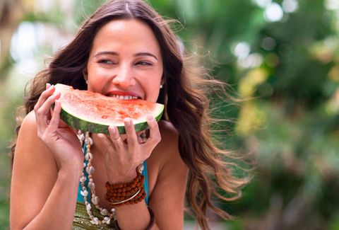 Human, Lip, Eye, Skin, Food, People in nature, Eating, Food craving, Summer, Produce,