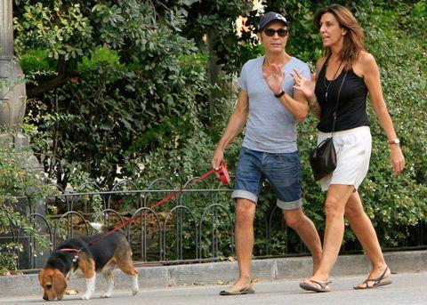Clothing, Leg, Dog breed, Dog, Goggles, Carnivore, Leash, Hat, Summer, Collar,