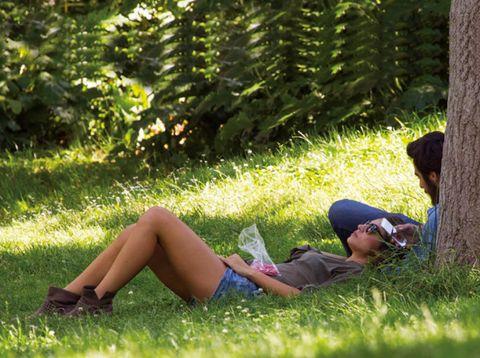 Grass, Human leg, Sitting, People in nature, Summer, Knee, Black hair, Sunlight, Thigh, Shade,