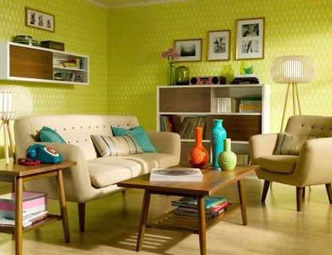 Green, Wood, Room, Interior design, Floor, Living room, Furniture, Home, Flooring, Wall,